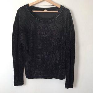 We The Free Crushed Velvet Black Sweatshirt XS